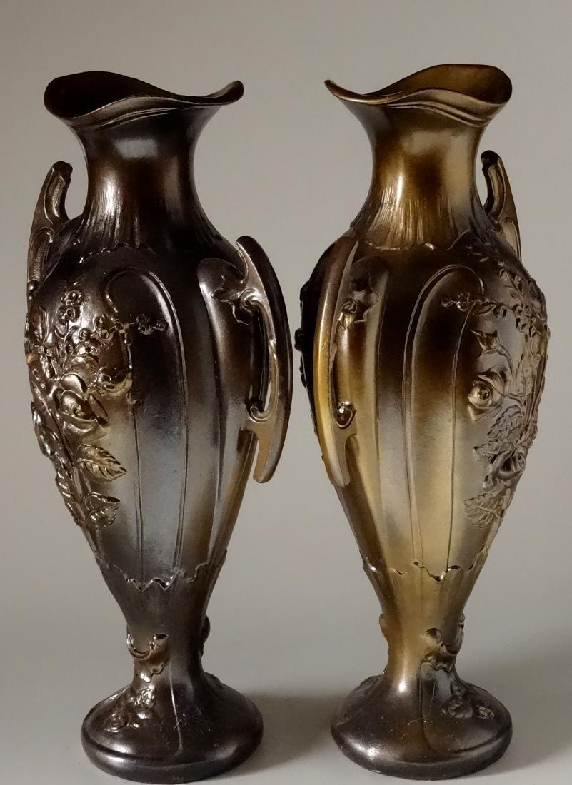 Art Nouveau French Mantel Vases Antique Bronzed Spelter - 3