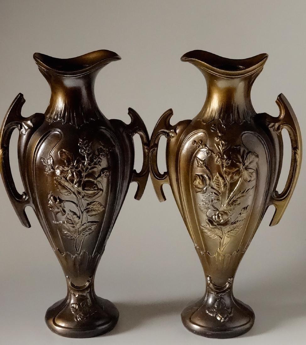 Art Nouveau French Mantel Vases Antique Bronzed Spelter - 4