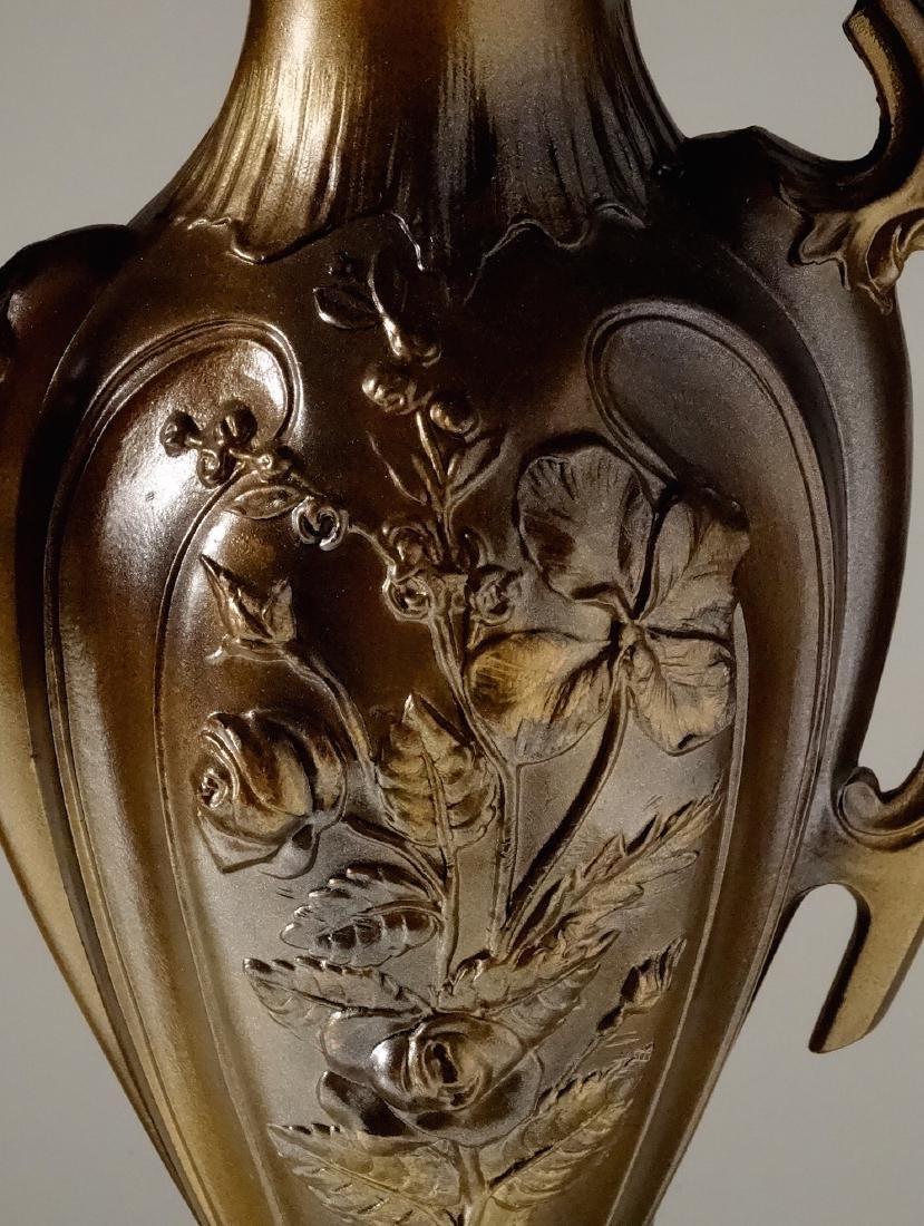 Art Nouveau French Mantel Vases Antique Bronzed Spelter - 5