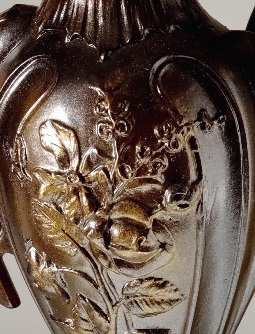 Art Nouveau French Mantel Vases Antique Bronzed Spelter - 6