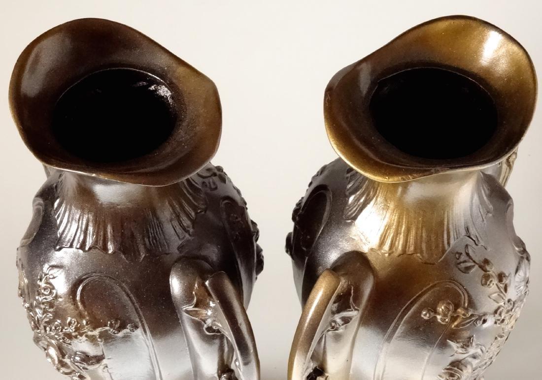 Art Nouveau French Mantel Vases Antique Bronzed Spelter - 7