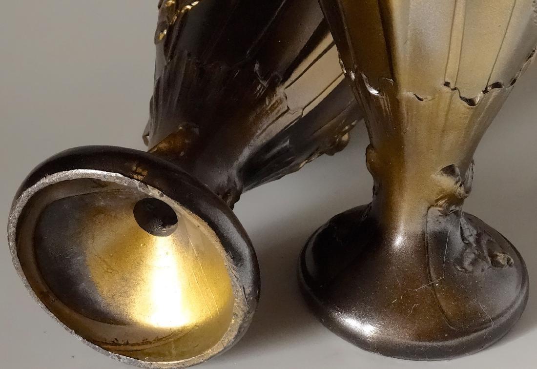 Art Nouveau French Mantel Vases Antique Bronzed Spelter - 8