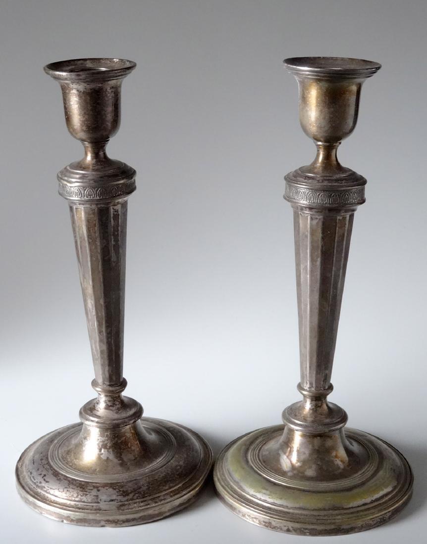 Antique Hallmarked Tall Candlesticks Pair