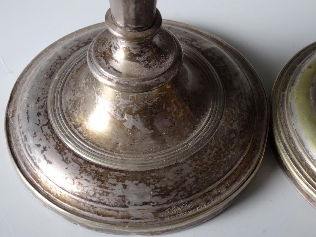 Antique Hallmarked Tall Candlesticks Pair - 3