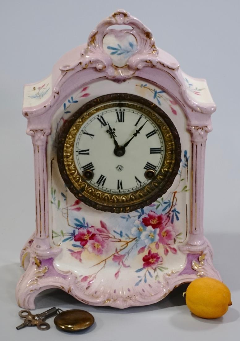 Ansonia Royal Bonn China Striking Mantle Clock