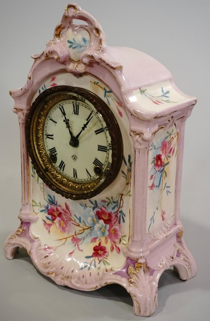 Ansonia Royal Bonn China Striking Mantle Clock - 4