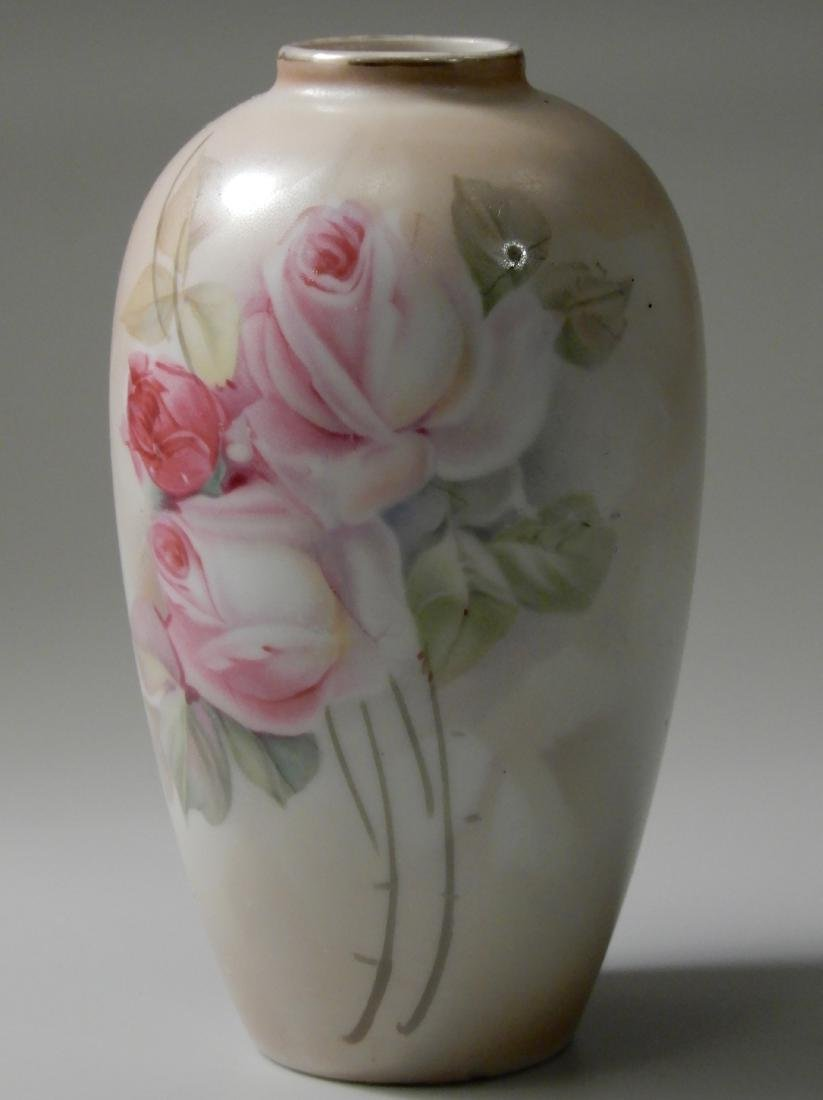 Small Porcelain Cabinet Vase With Pale Roses