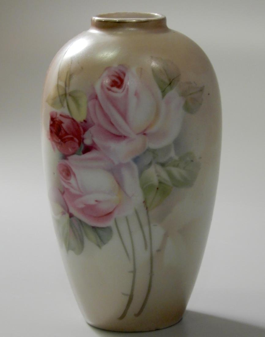 Small Porcelain Cabinet Vase With Pale Roses - 2