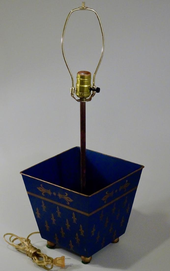 Italian Tole Painted Tin Planter Lamp Florentine Navy