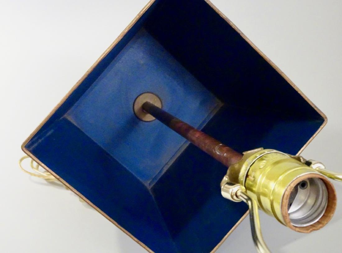 Italian Tole Painted Tin Planter Lamp Florentine Navy - 3