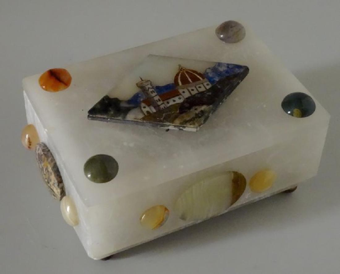 Vintage Italian Specimen Pietra Dura Alabaster Trinket - 2