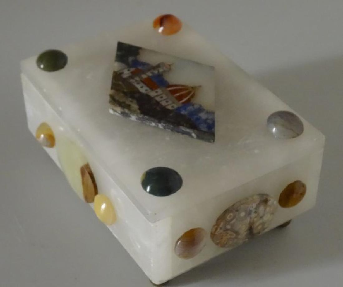 Vintage Italian Specimen Pietra Dura Alabaster Trinket - 3