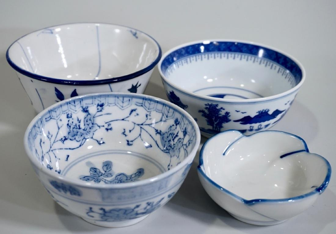 Chinese Blue White Porcelain Bowl Lot of 4 Bowls