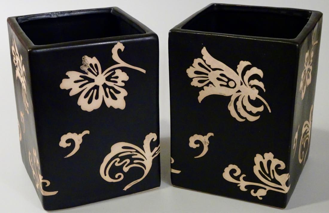 Pair Black Ceramic Cachepot Vase Modern