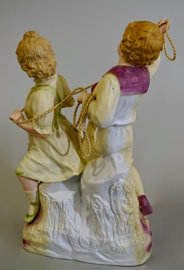 Large Heubach Bisque Porcelain Group Children Playing - 5