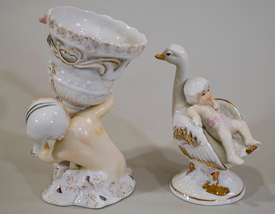 Glazed Porcelain Putti Figurines Lot of 2 - 3