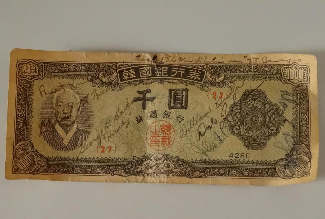 Bank of Korea Currency Paper Money Signed Bill