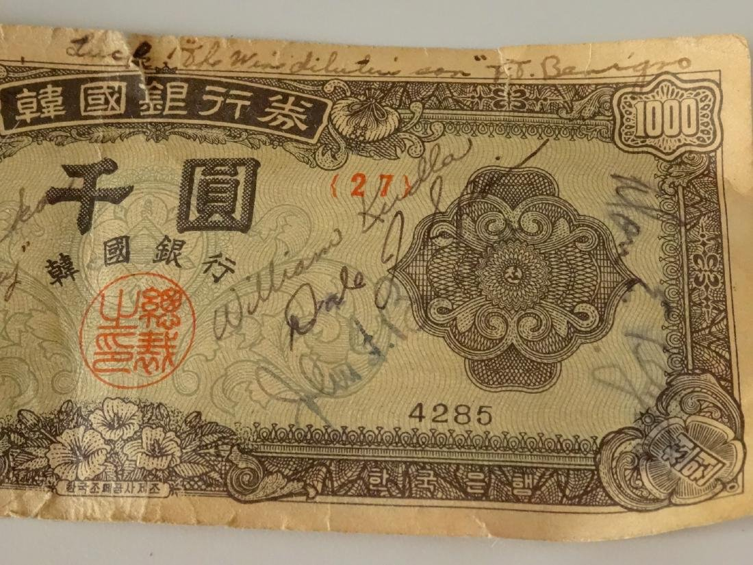 Bank of Korea Currency Paper Money Signed Bill - 3