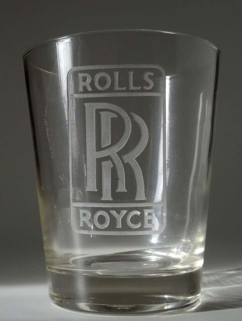 Vintage Rolls Royce Car Advertising Whiskey Glass Deep - 2