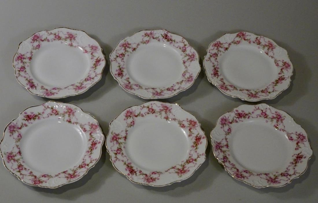 Antique Silesia Porcelain Plate Lot of 6 Pink Flowers