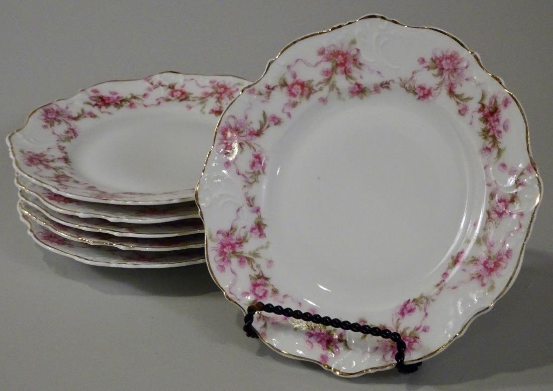 Antique Silesia Porcelain Plate Lot of 6 Pink Flowers - 2