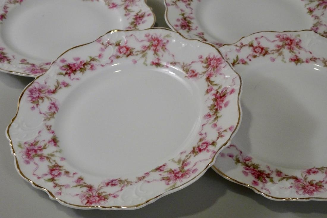 Antique Silesia Porcelain Plate Lot of 6 Pink Flowers - 3
