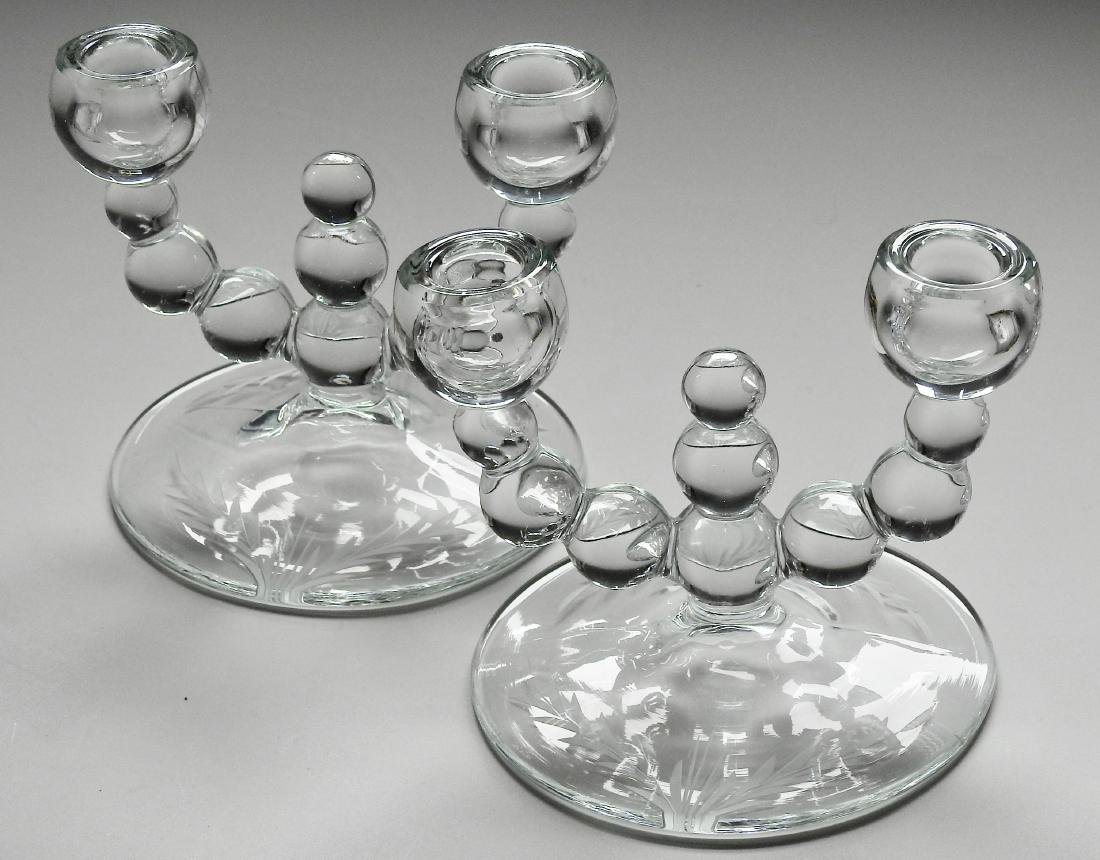Art Deco Glass Optic Balls Candelabra Candleholders - 2