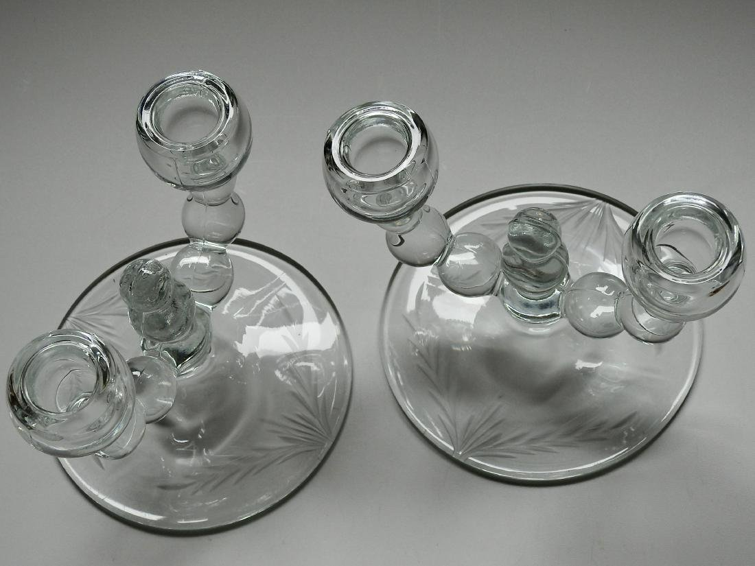 Art Deco Glass Optic Balls Candelabra Candleholders - 3