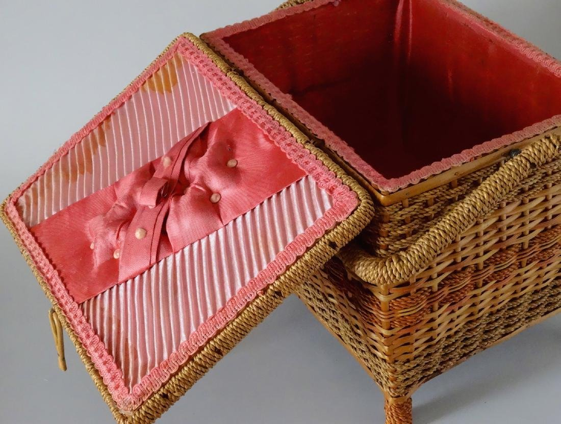Vintage Sewing Box Wicker Basket Pink Upholstery