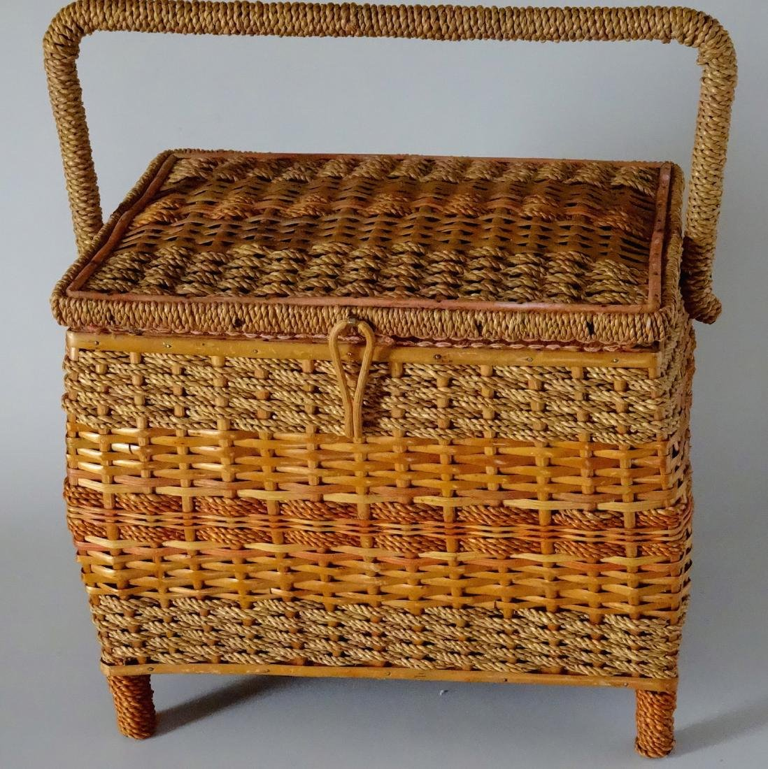 Vintage Sewing Box Wicker Basket Pink Upholstery - 2