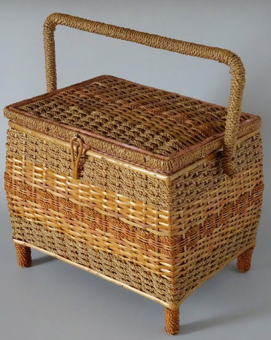 Vintage Sewing Box Wicker Basket Pink Upholstery - 3