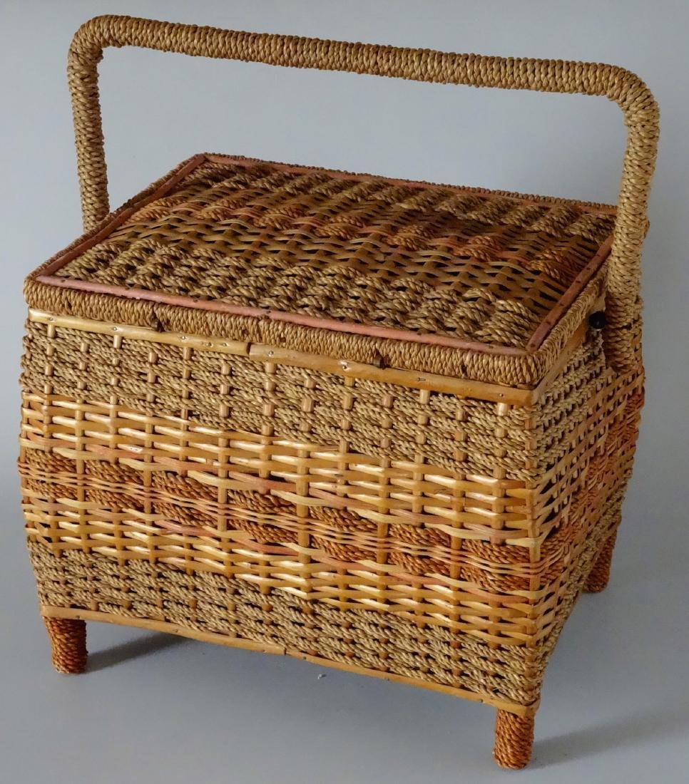 Vintage Sewing Box Wicker Basket Pink Upholstery - 4