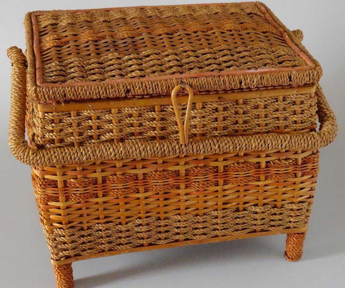Vintage Sewing Box Wicker Basket Pink Upholstery - 8