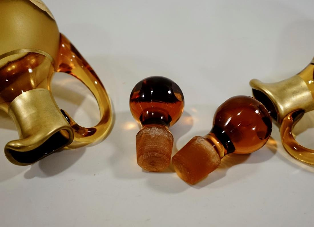 Moser Bohemian Gilt Decorated Amber Glass Bottles Haida - 10