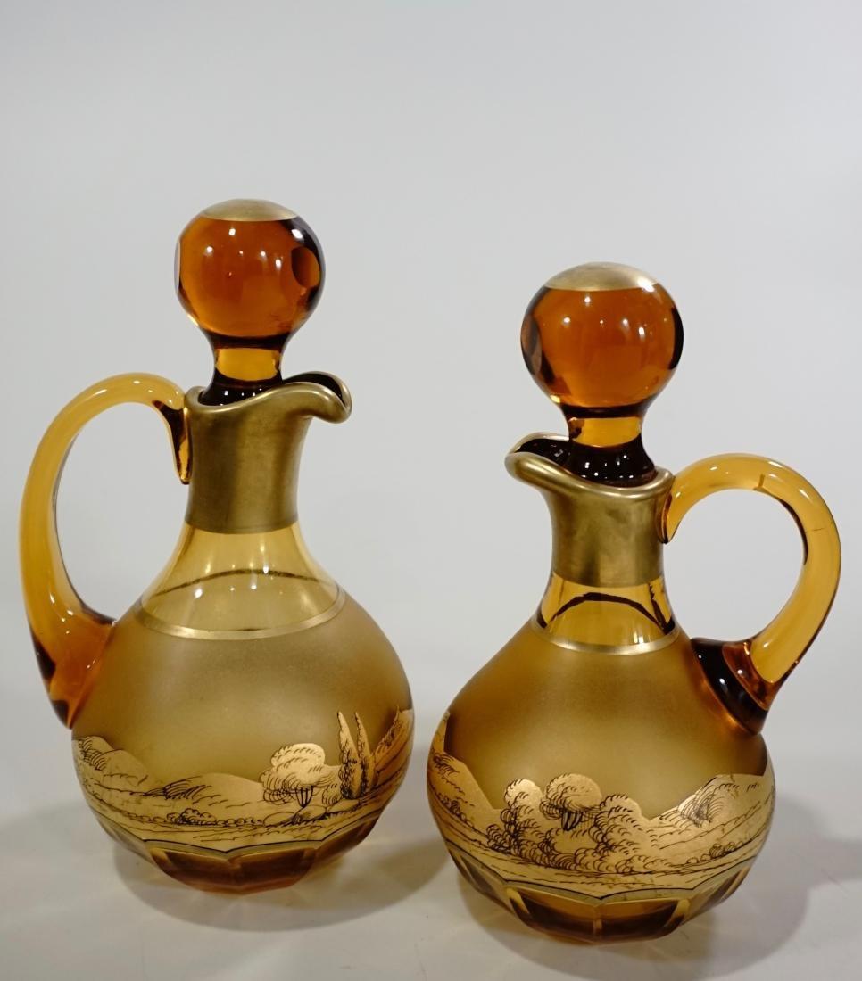 Moser Bohemian Gilt Decorated Amber Glass Bottles Haida
