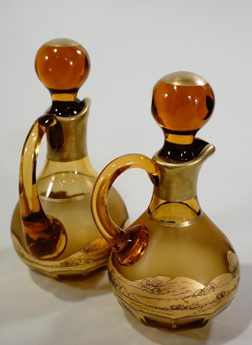 Moser Bohemian Gilt Decorated Amber Glass Bottles Haida - 2