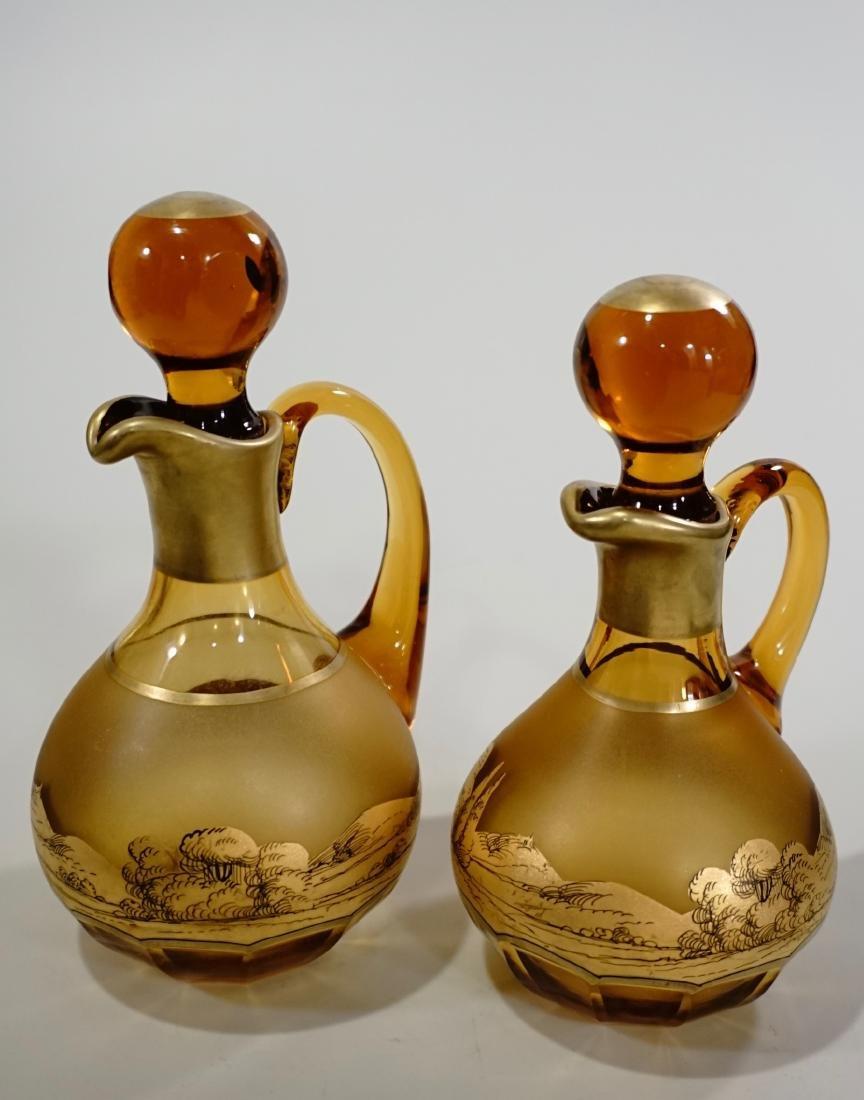 Moser Bohemian Gilt Decorated Amber Glass Bottles Haida - 3