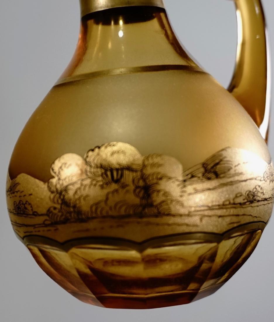 Moser Bohemian Gilt Decorated Amber Glass Bottles Haida - 5