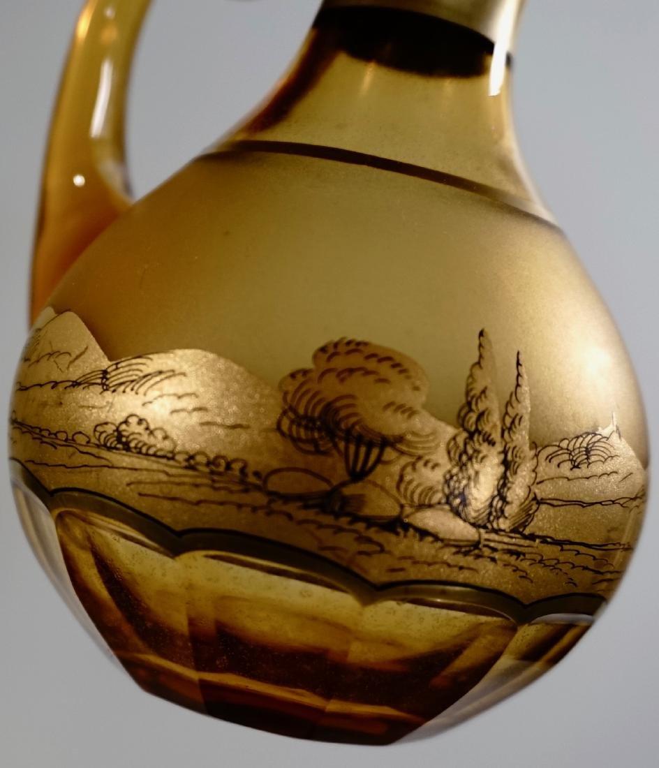 Moser Bohemian Gilt Decorated Amber Glass Bottles Haida - 6