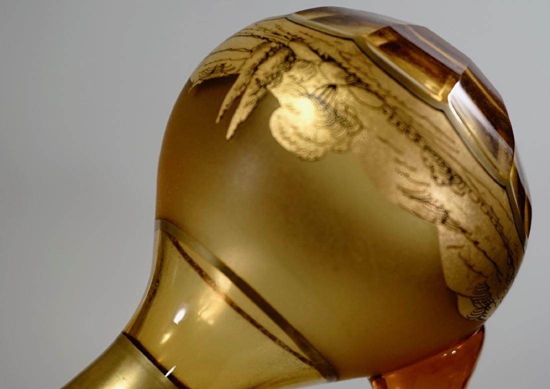 Moser Bohemian Gilt Decorated Amber Glass Bottles Haida - 7