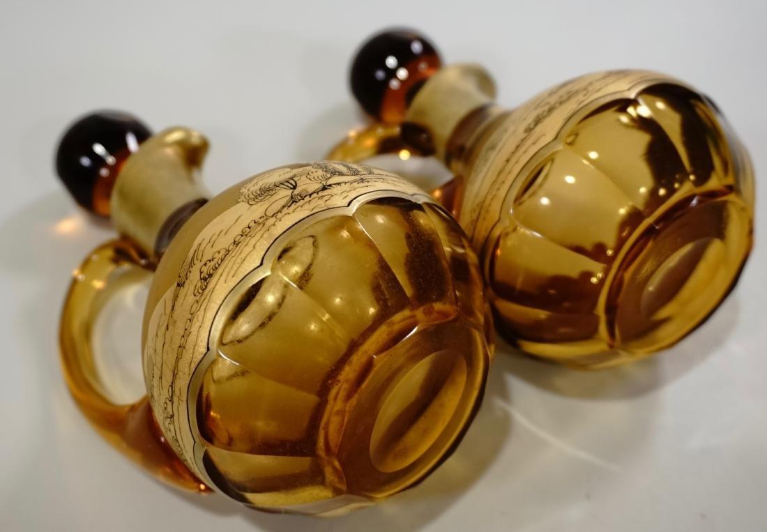 Moser Bohemian Gilt Decorated Amber Glass Bottles Haida - 8
