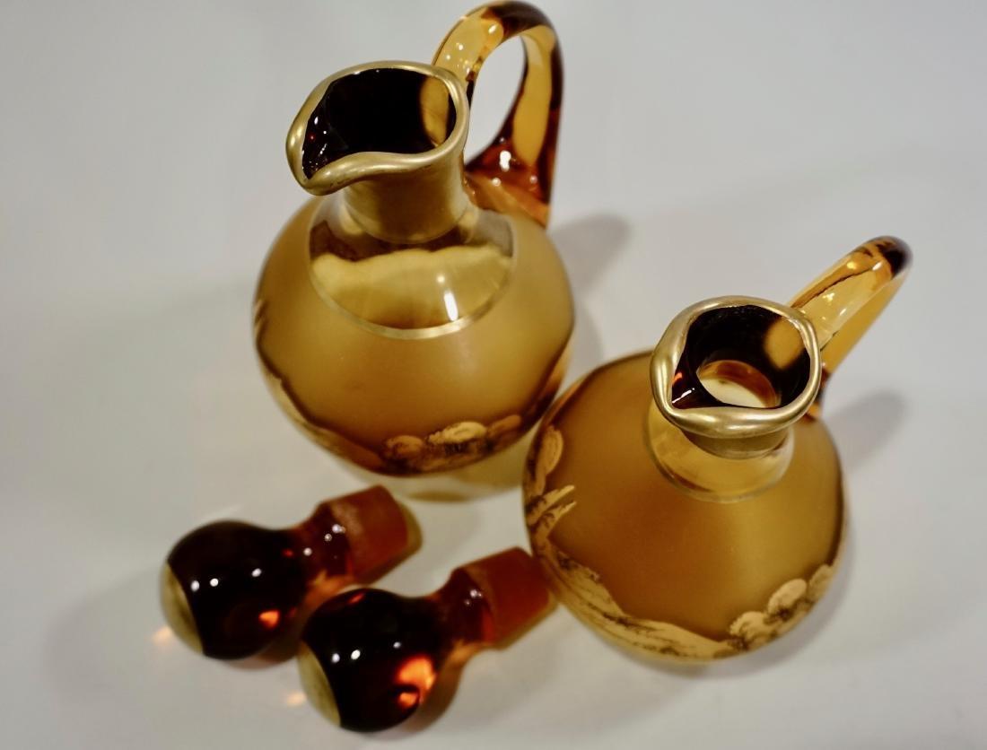 Moser Bohemian Gilt Decorated Amber Glass Bottles Haida - 9