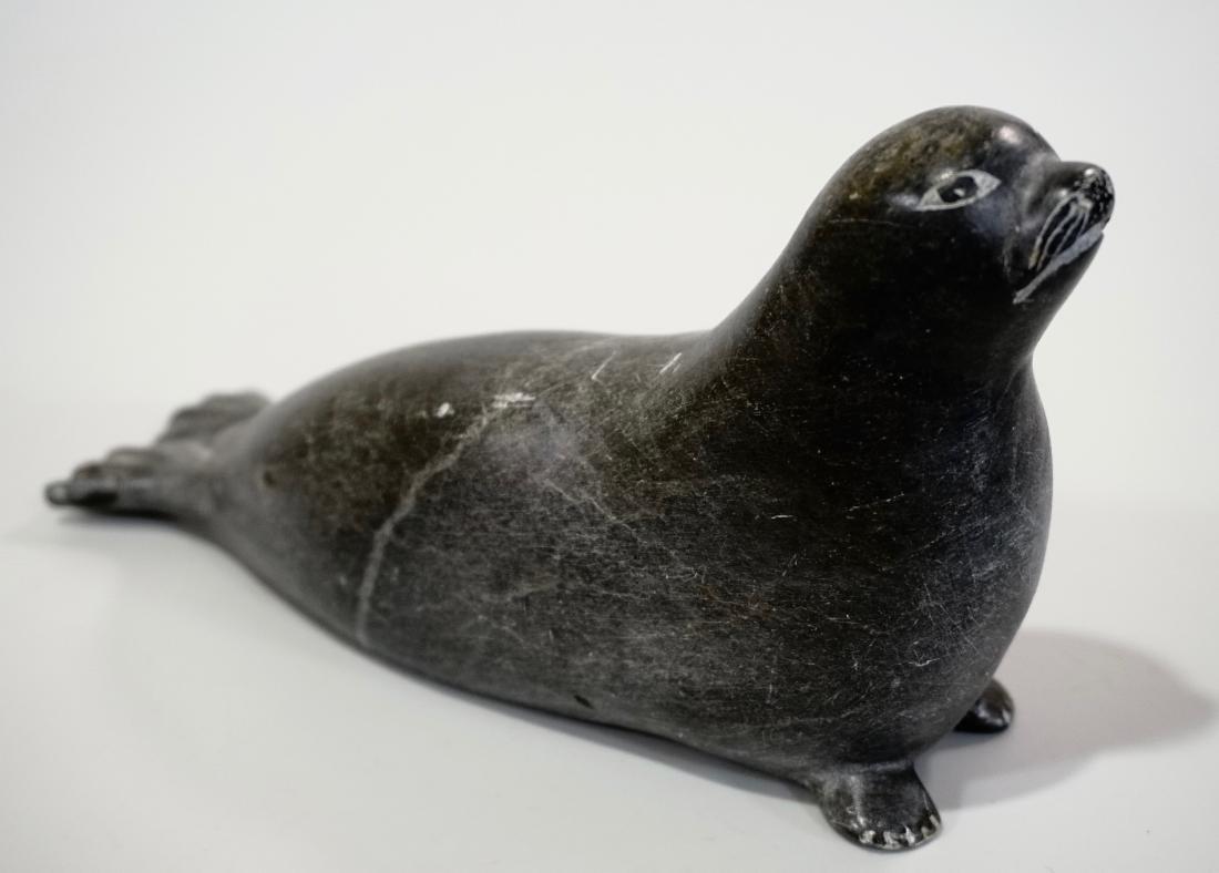 Inuit Eskimo Seal Carved Stone Figurine - 3