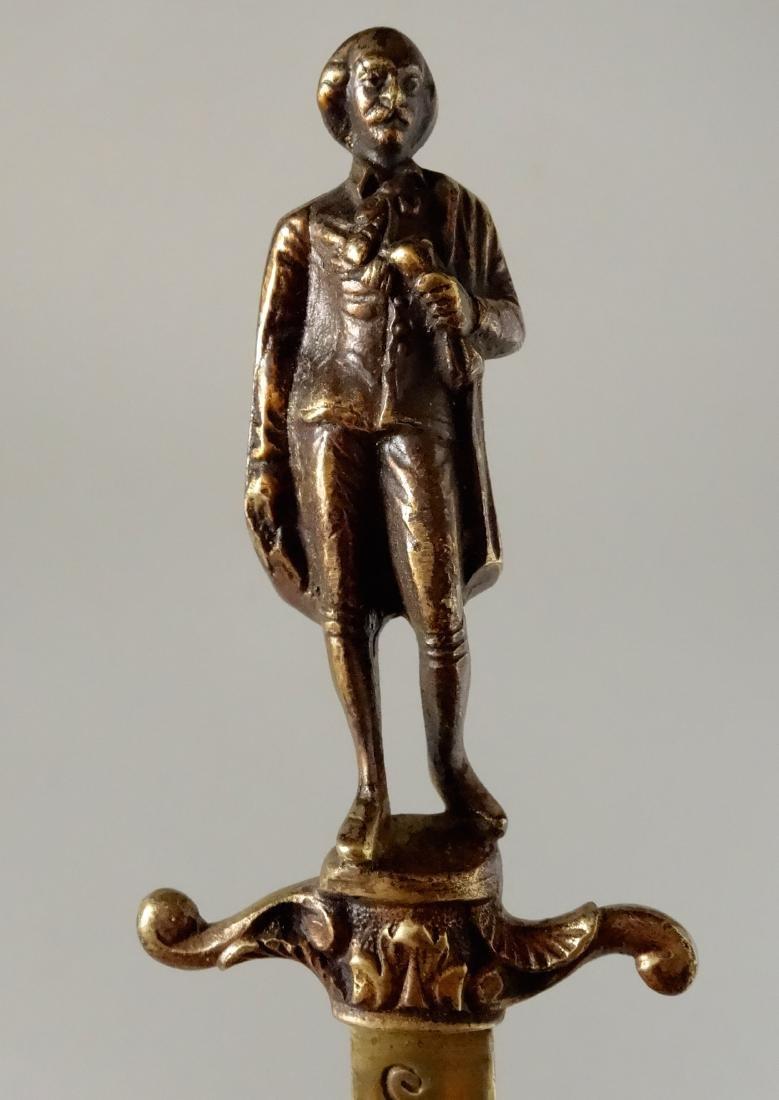 Antique Bronze Figural Dagger Letter Opener Shakespeare - 4
