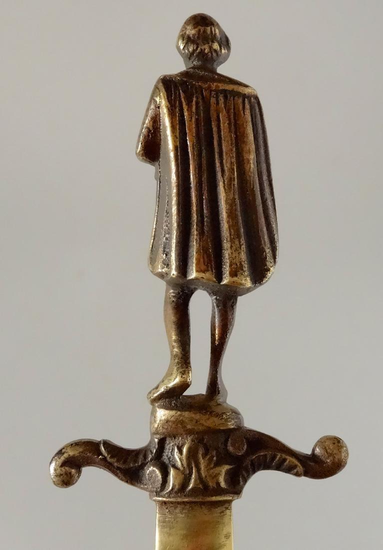 Antique Bronze Figural Dagger Letter Opener Shakespeare - 6