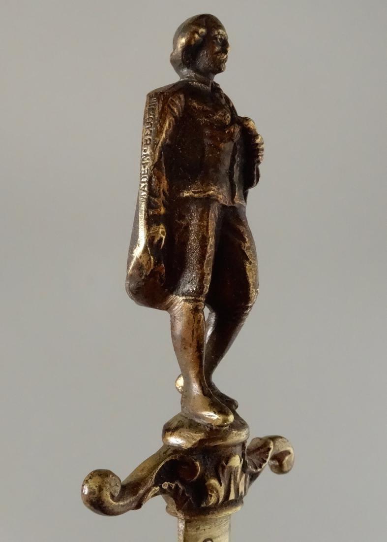 Antique Bronze Figural Dagger Letter Opener Shakespeare - 7