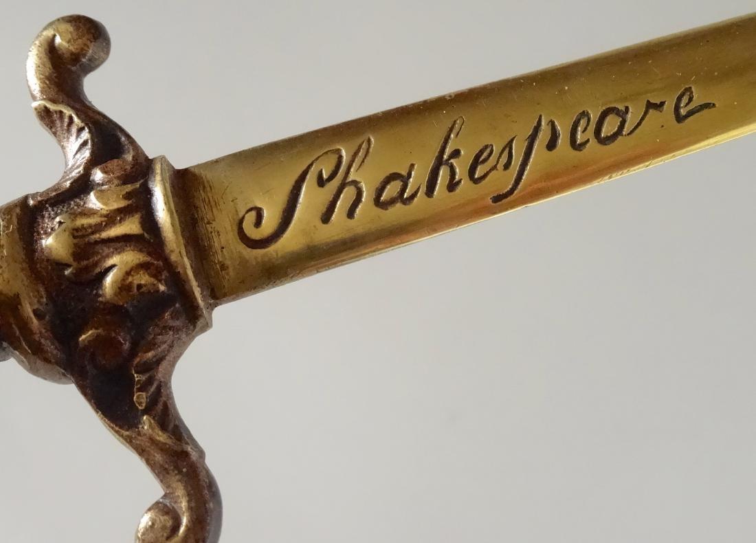 Antique Bronze Figural Dagger Letter Opener Shakespeare - 9