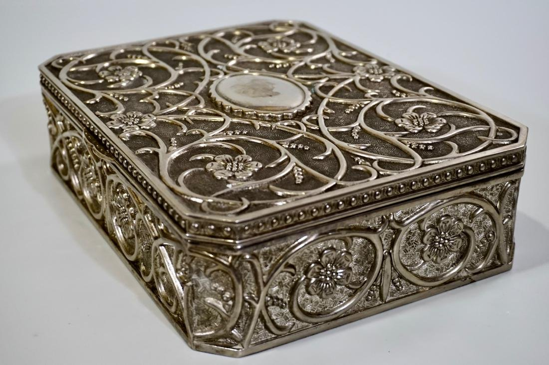 Embossed Cast Metal Silver Plated Jewelry Box Divided