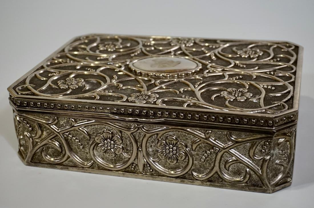 Embossed Cast Metal Silver Plated Jewelry Box Divided - 5