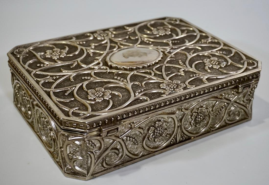 Embossed Cast Metal Silver Plated Jewelry Box Divided - 6